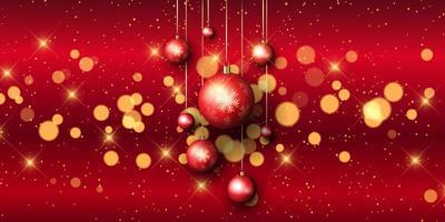 Banner de bugiganga vermelha de Natal com luzes de bokeh vetor