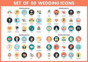 Conjunto de ícones de casamento vetor
