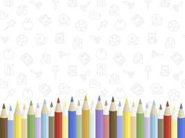 Cartaz de lápis colorido com volta aos ícones da escola