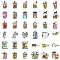 Chá de bolha ou chá de leite pérola cheio de conjunto de ícones vetor