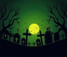 Dia das Bruxas com área de cemitério assustador vetor