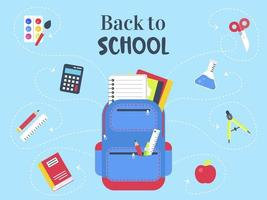 Modelo de cartaz - azul de volta à escola vetor