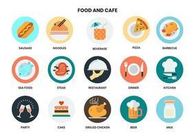 Ícones circulares de comida e café para negócios