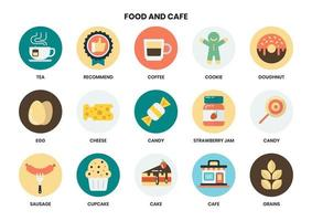 Conjunto circular de ícones de comida e restaurante para negócios