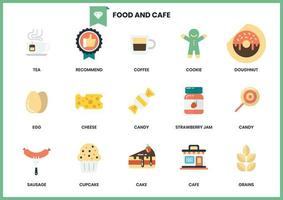 Conjunto de ícones de café e comida vetor