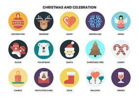 Conjunto de ícones redondos de Natal vetor