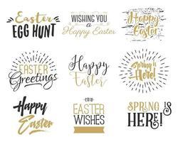 Sobreposições de desejos de Páscoa letras conjunto de design de etiquetas vetor