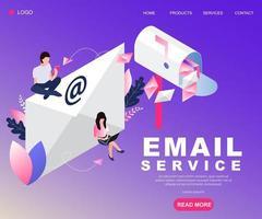 Projeto de conceito isométrico de serviço de email vetor