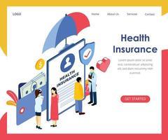 Página da Web de seguro de saúde