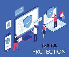 Projeto isométrico de proteção de dados vetor