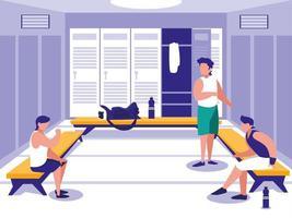 homens no lugar com armário de academia de esporte