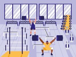homens levantando pesos no ginásio de esporte