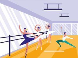 ícone de cena de escola de balé vetor
