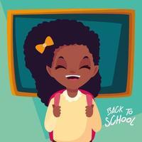 menina bonitinha estudante em cartaz de volta às aulas vetor