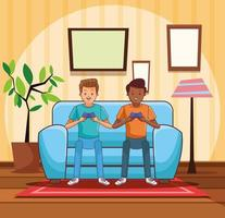 Adolescentes jogando videogame vetor