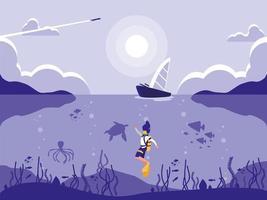 mergulhador no ícone de cena de paisagem tropical