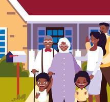 família bonita com casa de fachada