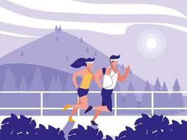 paisagem criativa com casal correndo