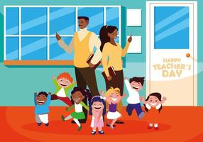 feliz dia do professor com professores e alunos na escola