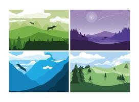 cartaz de desejo por viajar com conjunto de paisagens