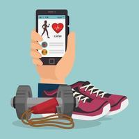 smartphone com ícones de estilo de vida saudável