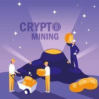 trabalhadores em equipe de bitcoins de mineração de criptografia
