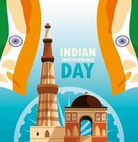 cartaz do dia da independência indiana com bandeira e jama masjid vetor