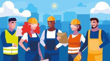 Conjunto de design de trabalhadores profissionais vetor