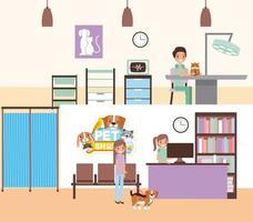 Consultório veterinário com pessoas e animais de estimação