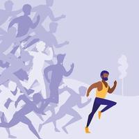 personagem de avatar de corrida de atletismo masculino vetor