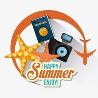 Verão, férias e ícones de viagens vetor