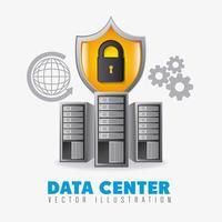 Centro de dados definido com ícones vetor