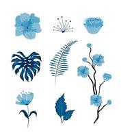 Conjunto de lindas flores e folhas vetor