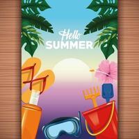 Olá cartão de verão em fundo de madeira vetor