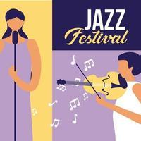 Mulheres tocando música no festival de jazz vetor