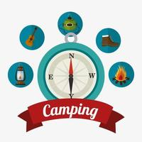 Ícones de viagens e férias de acampamento vetor