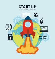 Iniciar colagem de design de negócios