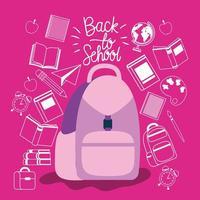 mochila e suprimentos de volta à escola vetor