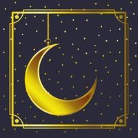moldura dourada com lua crescente pendurado vetor