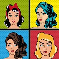 Conjunto de mulheres pop art vetor