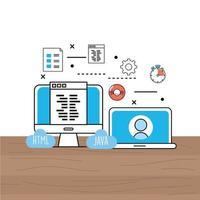 processo de site de computador e laptop e tecnologia de programação vetor
