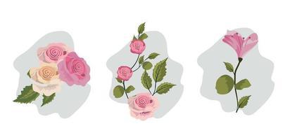 Conjunto de flores vintage vetor