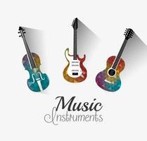 Instrumentos musicais de design digital.