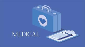 kit médico com pedido na lista de verificação vetor