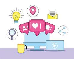 computador com informações de mensagem de mídia social