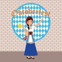 Sinal de Oktoberfest com mulher segurando caneca de cerveja vetor