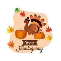Feliz dia de ação de Graças de design com a Turquia e abóboras