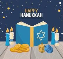 livro de Hanukkah com velas e decoração de giro vetor