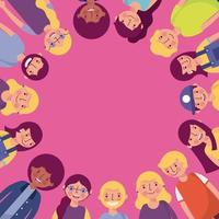 Grupo de diversos jovens criando quadro de círculo vetor