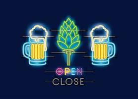 cervejas frascos e picos luzes de neon vetor